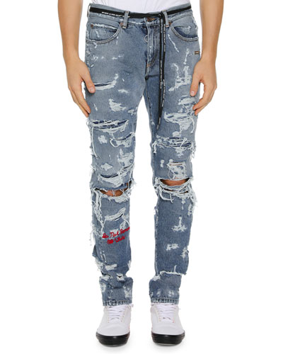 Men's Distressed Back-Dart Jeans