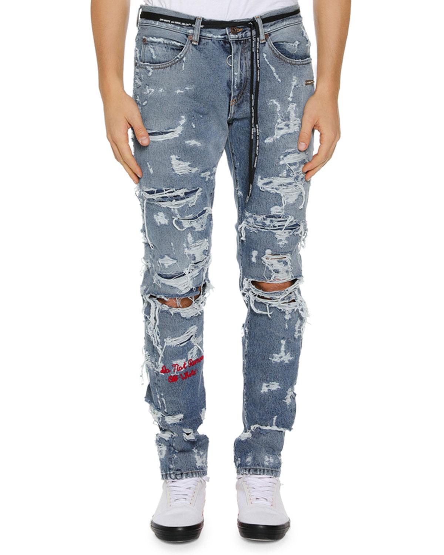 fa658b45deb3 Off-White Men s Distressed Back-Dart Jeans