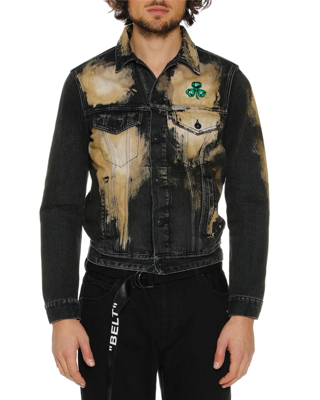 1a92ba9ce779 Off-White Men s Distressed Spots-Washed Slim Denim Jacket