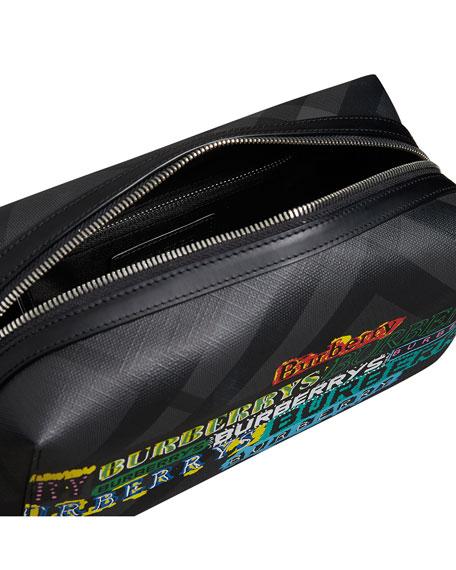 Men's Charcoal Graphic Logo Faux-Leather Toiletry Bag