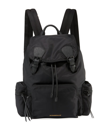 Men's Rucksack Leather-Trim Nylon Backpack