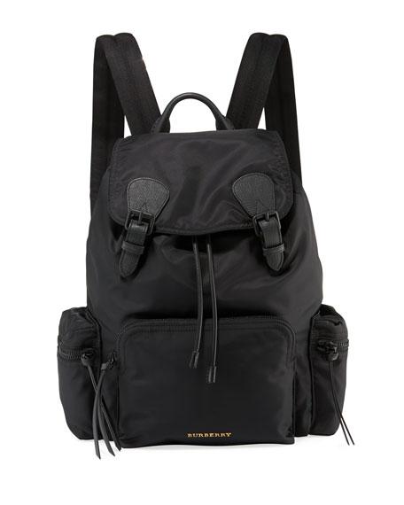 Burberry Men's Rucksack Leather-Trim Nylon Backpack