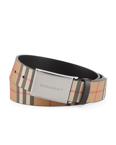 Burberry Men S Charles Check Leather Belt