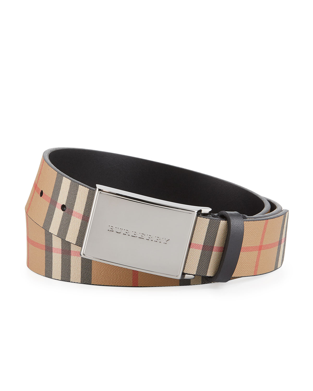 c22231150b18 Burberry Men s Charles Check Leather Belt