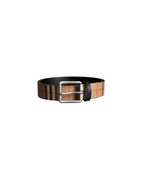 BURBERRY Mark Vintage Check Leather Belt, Black