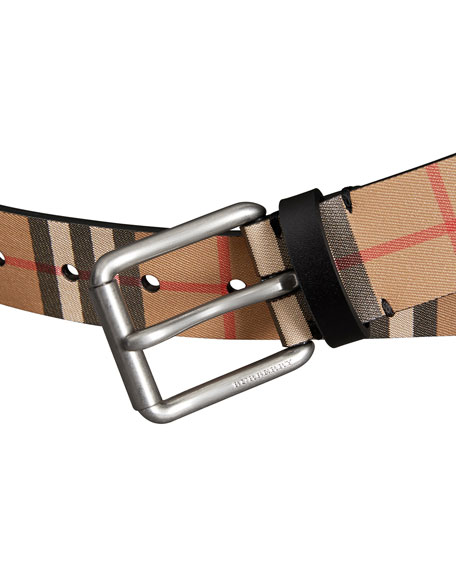 Men's Mark Check Leather Belt
