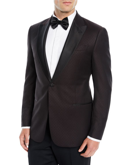 Men's Tonal Pattern Wool Dinner Jacket
