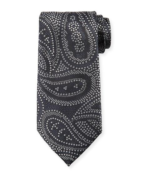 Paisley Silk Tie, Gray