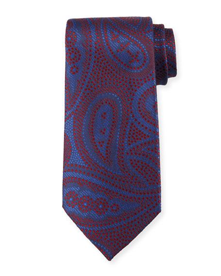 Paisley Silk Tie, Red/Blue