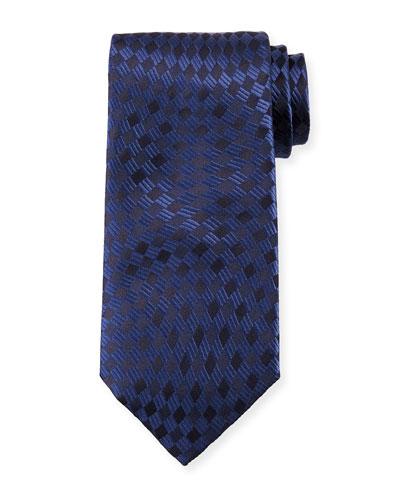 Tonal Wave Check Silk Tie, Navy