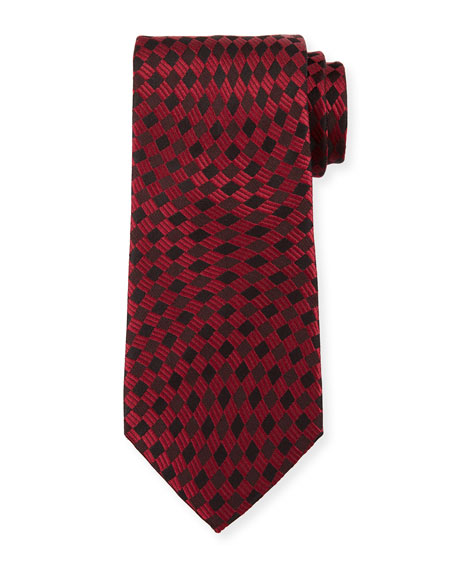 Tonal Wave Check Silk Tie, Red