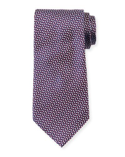 Micro Neat Silk Tie, Red