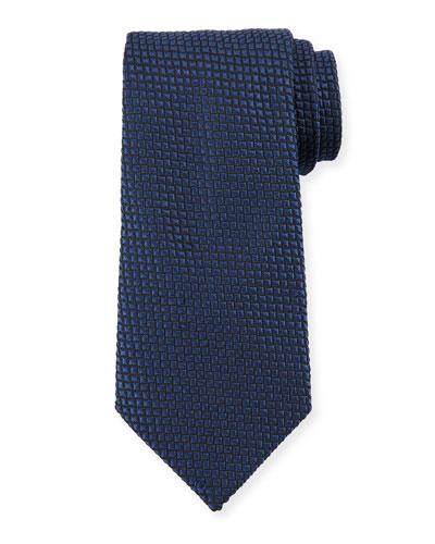 Square Silk Tie, Night Blue