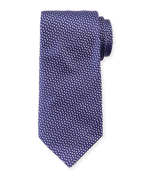 Micro Neat Silk Tie, Purple