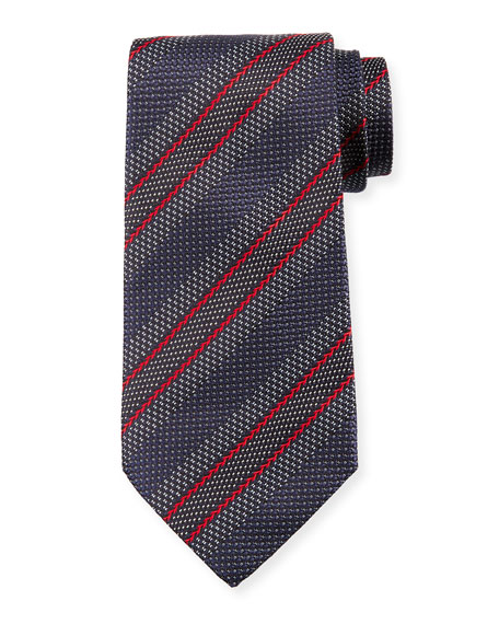 Diagonal Stripe Silk Tie, Gray/Red