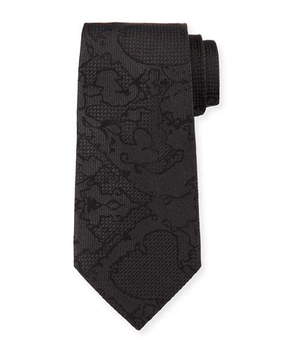 Tonal Pattern Silk Tie, Black