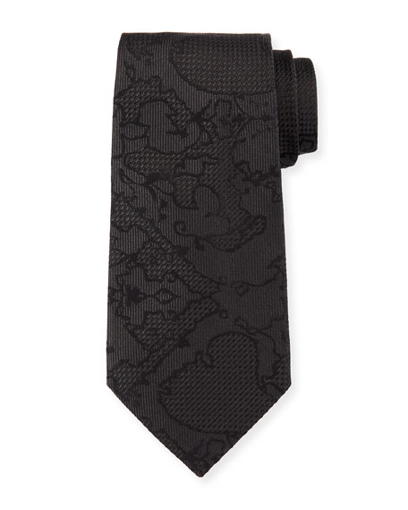 Tonal Pattern Silk Tie, Black