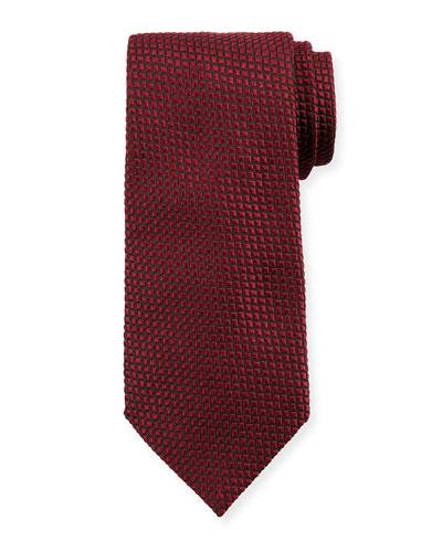 Square Silk Tie, Burgundy