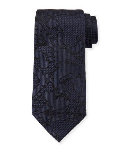 Tonal Pattern Silk Tie, Dark Blue