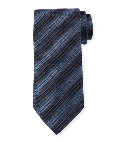 Diagonal Stripes Silk/Wool Tie, Heron Blue
