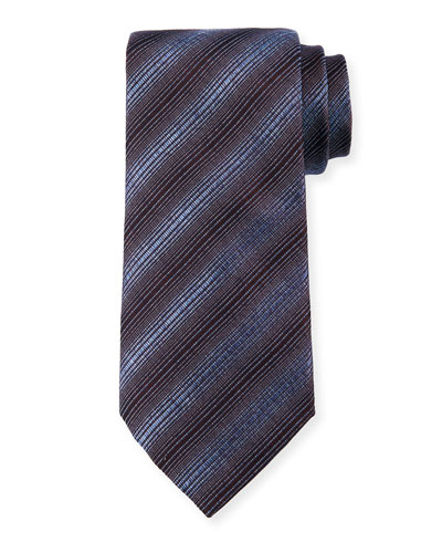 Diagonal Stripes Silk/Wool Tie, Steel Blue
