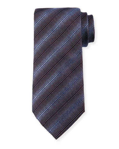 Diagonal Stripes Silk/Wool Tie, Steel Blue