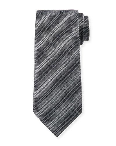 Diagonal Stripes Silk/Wool Tie, Magnet Gray