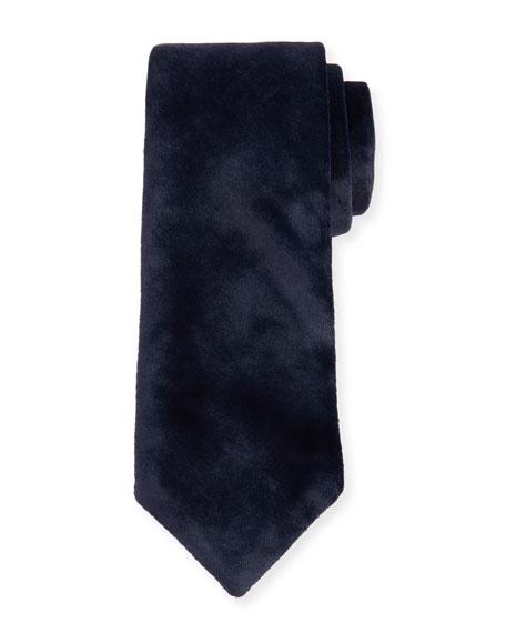 Giorgio Armani Solid Velvet Tie, Navy