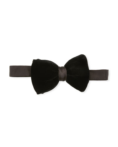 Men's Velvet Bow Tie, Black