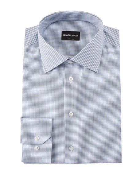 Men's Micro-Graph Cotton Dress Shirt, Blue
