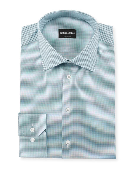 Giorgio Armani Men's Micro-Graph Cotton Dress Shirt, Green
