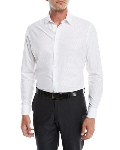 Men's Tonal Embossed Chevron Sport Shirt, White
