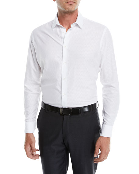 Giorgio Armani Men's Tonal Embossed Chevron Sport Shirt,