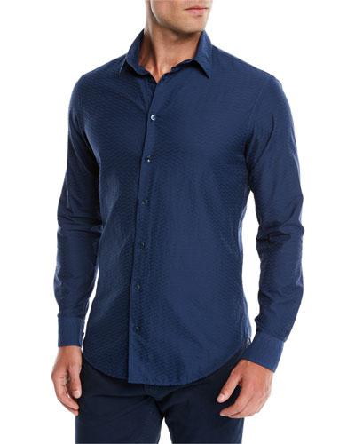Men's Tonal Embossed Chevron Sport Shirt, Blue