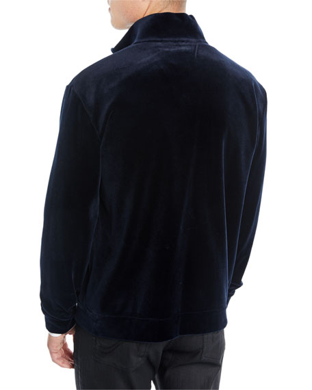 Men's Velvet Jersey Zip-Front Jacket