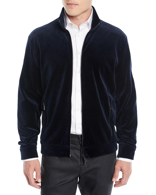 24feed8b160d Giorgio Armani Men s Velvet Jersey Zip-Front Jacket