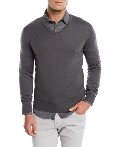 Men's V-Neck Wool Pullover Sweater