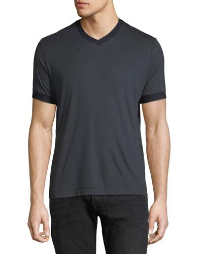 Men's Contrast-Trim V-Neck T-Shirt