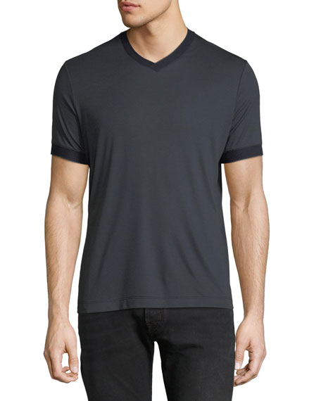Men's Contrast-Trim V-Neck T-Shirt, Navy