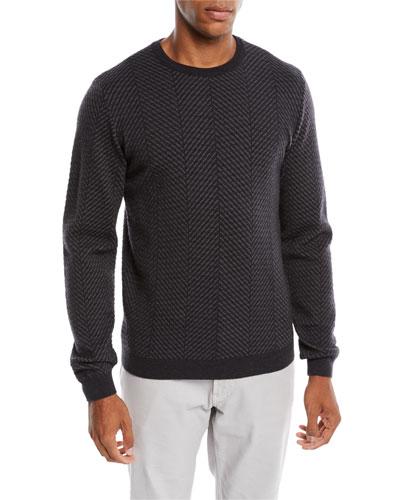Men's Macro Herringbone Wool-Stretch Sweater