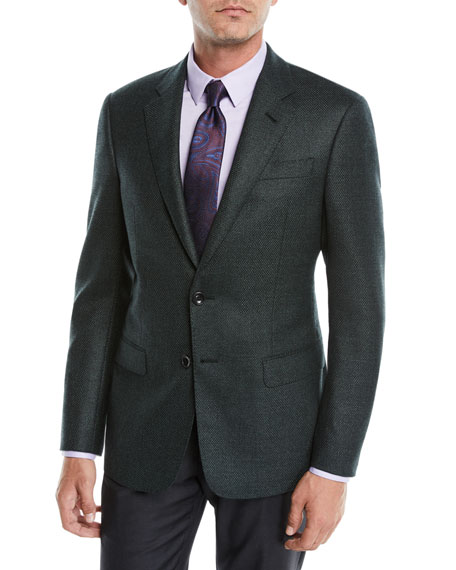 Giorgio Armani Men's Micro-Tile Wool Sport Coat Jacket