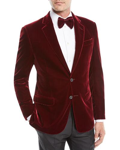 Men's Velvet Two-Button Sport Coat Jacket, Merlot