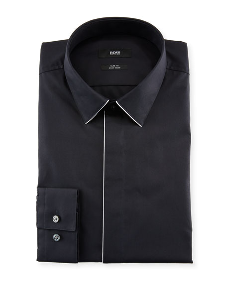 BOSS Men's Slim Fit Easy Iron Contrast-Piping Dress