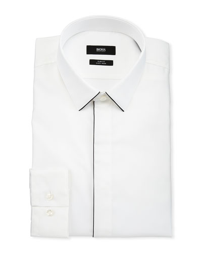 Men's Slim Fit Easy Iron Contrast-Piping Dress Shirt, White