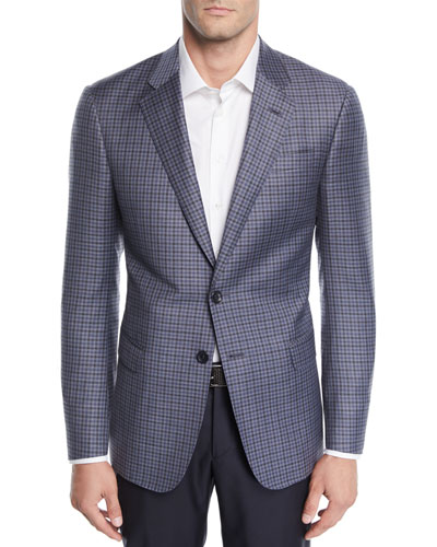 Men's Small Check Wool Two-Button Jacket
