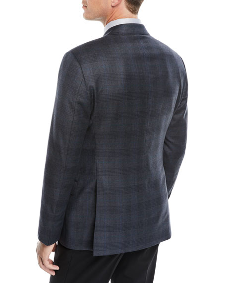 Men's Shadow Plaid Two-Button Jacket