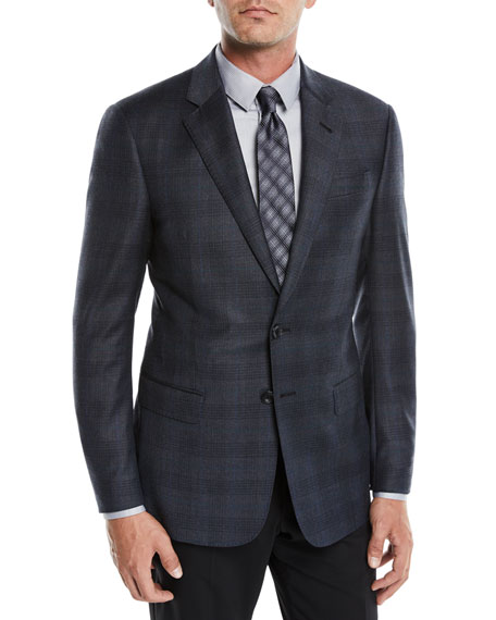 Giorgio Armani Men's Shadow Plaid Two-Button Jacket