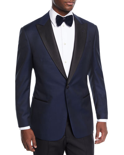 Men's Men's Satin-Lapel Chevron Tuxedo Jacket