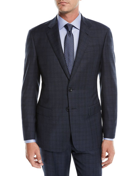 Men's Micro-Nailhead Two-Piece Wool Suit