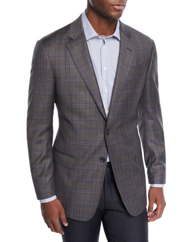 Men's Plaid Wool Two-Button Jacket
